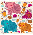 Various elephants vector image