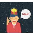 Happy guy got an idea for the christmas gift vector image