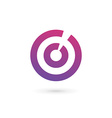 Letter O number 0 target logo icon design template vector image