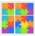 modern puzzele set with shadow vector image