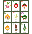 Printable flashcard English alphabet from R to Z vector image