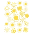 Hand drawn set of different suns isolated vector image