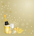 New Year gold greeting card vintage vector image
