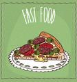 piece of italian pizza in handmade cartoon style vector image