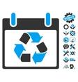 Recycle Calendar Day Icon With Bonus vector image