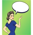 Pop art retro style woman point hand sign with vector image