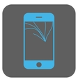 Broken Smartphone Screen Rounded Square vector image