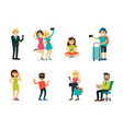 different characters and modern technology set vector image
