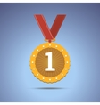 Gold award medal with red ribbon vector image