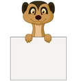 Cute meerkat cartoon holding blank sign vector image vector image