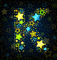 Letter K cartoon star colored vector image