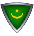 steel shield with flag mauritania vector image vector image