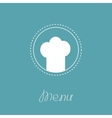 Chef hat inside round dash line frame Menu card vector image