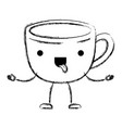 cup of coffee with handle in dish cartoon vector image