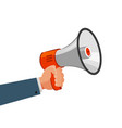 loudspeaker or megaphone in hand advertising vector image