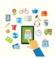 Shopping e-commerce hand concept vector image