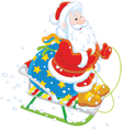 Santa sledding with gifts vector image
