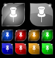 Clip Icon sign Set of ten colorful buttons with vector image