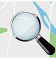 Navigation route with transparent magnifying glass vector image