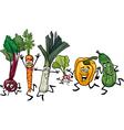 running vegetables cartoon vector image