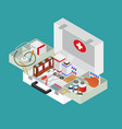 medical case with equipment isometric view vector image