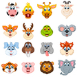Collection of cute face animal vector image