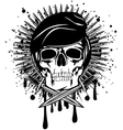 skull in beret crossed knives on grunge splash vector image vector image