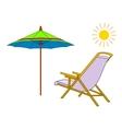 Beach chaise lounge umbrella and sun vector image