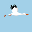 flying stork on a blue background vector image