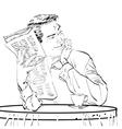 man newspaper Breakfast coffee table vector image
