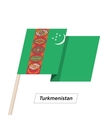 Turkmenistan Ribbon Waving Flag Isolated on White vector image
