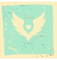 White wings with heart in center Grunge vector image