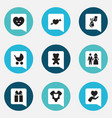 set of 9 editable kin icons includes symbols such vector image