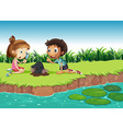 Boy and girl having fun in the park vector image