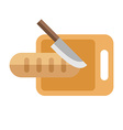 Knife and Bread on a Board Isolated Flat Style vector image
