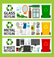 banners with glass metal e-waste trash vector image
