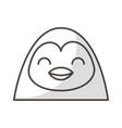 Cute shadow penguin face cartoon vector image
