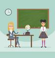 female teacher and schoolgirl in school uniform vector image