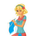 Girl knitting vector image