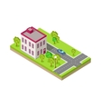 Isometric Icon of Two Storey House Near Road vector image