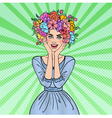 Pop Art Woman in Love with Flowers Hairstyle vector image