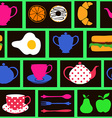Seamless pattern of breakfast food and drink vector image