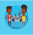African friends having fun at barbecue party vector image