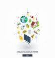environmental integrated 3d web icons digital vector image