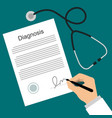 doctor puts signature in the diagnosis list vector image