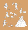 flat children at countryside scenes set vector image
