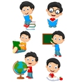 Happy school children cartoon collection set vector image