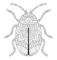 zentangle stylized beetle hand drawn lace vector image