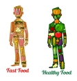 Healthy diet nutrition and fast food Human icons vector image