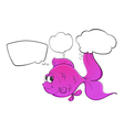 A pink fish with empty thoughts vector image vector image